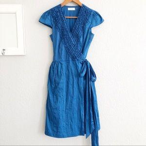 Calvin Klein Blue Ruffle Cap Sleeve Wrap Dress 2